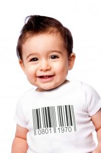 rompertje met streepjescode en geboortedatum