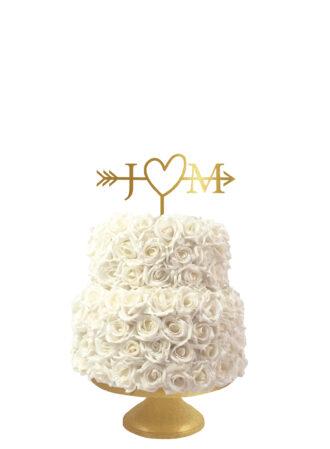 Bruidstaart taarttopper hart met pijlen en initialen