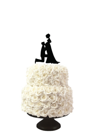 bruidstaart taarttopper met silhouetten knielende man en zwangere vrouw