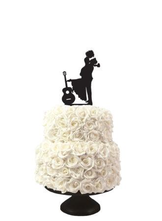 bruidstaart taarttopper met silhouetten man en vrouw met gitaar