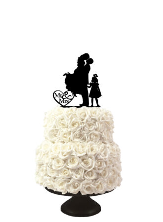 bruidstaart taarttopper met silhouetten van man vrouw en meisje
