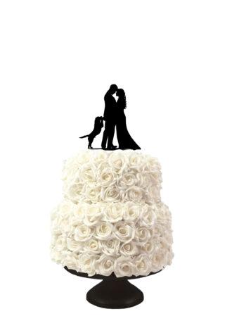 bruidstaart taarttopper met silhouetten man en vrouw en opspringende hond