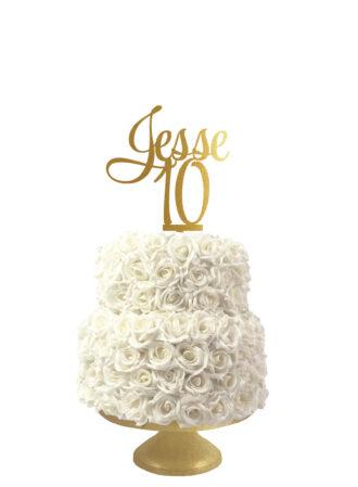 Verjaardagstaart taarttopper met naam en leeftijd